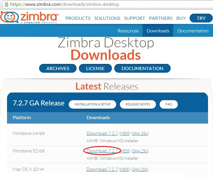 ZimbraDesktopDownload